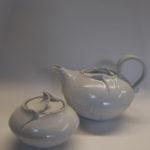 Ensemble Théière sucrier porcelaine blanche COQUILLAGE